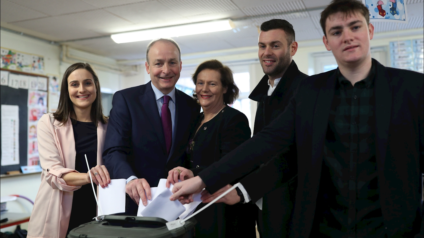 Micheal Martin And Family Voting 2020 xlarge