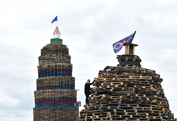 Northern Ireland's Largest Eleventh Night Bonfire Towers Above Larne
